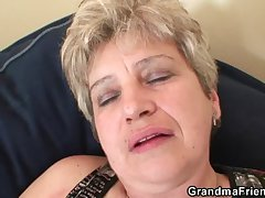 Ugly granny takes two cocks at one's fingertips in the future