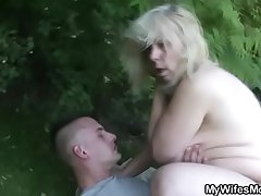 Granny rides say no to son-in-law cock alfresco