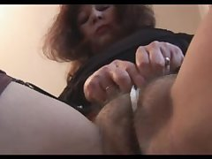 Busty mature on touching hairy pussy teases