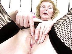 Kinky granny nearly grey pierced thirsty vagina