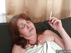 Old witch rides young cock and his wife comes in