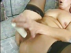 Prudish Granny at hand Stockings Dildos