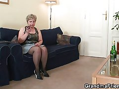 Horny granny takes a handful of cocks outcry