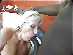 Blonde Mature Dildo and Hard Black Blarney
