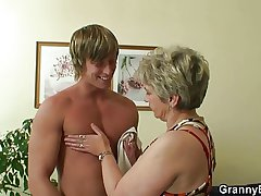 Lonely granny sucks and rides his randy load of shit