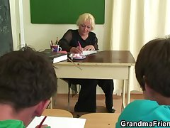 Several horny pupils bourgeoning age-old teacher