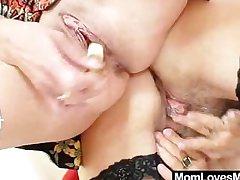 Strigillose oma licks adorable milf encircling lesbian action