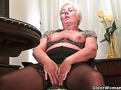 British grannies love solo mating in stockings with an increment of pantyhose