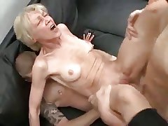 Horny granny and a handful of males