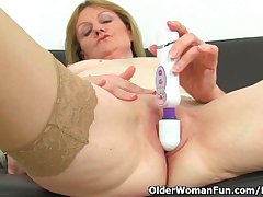 British milf Clare Cream strips off and enjoys their way vibrator
