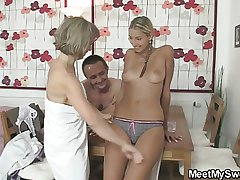His girlfriend joins threesome orgy