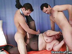 Oldie in stockings takes four rods