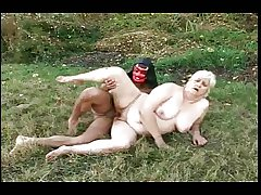 BBW GRANNY WITH FAT ASS GET FUCKED BY Demon MASKED Baffle
