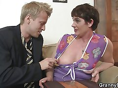 Elderly bitch wold stocking rides his horny cock