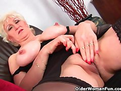Granny yon big tits finger fucks the brush attractive adult pussy