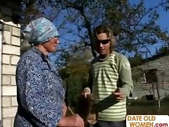 Granny Gets Reamed By Young Scantling Outdoors