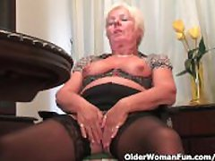 Chubby Granny All over Black Stockings Masturbates With Dildo