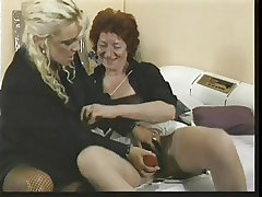 duo venerable lesbo gentlefolk with toys