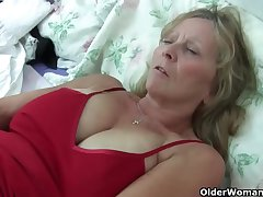 Grandma Isabel beside her big breasts rips candid her pantyhose