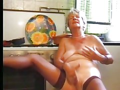 Granny in the matter of Stockings Plays in the matter of the Kitchen
