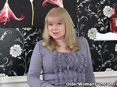 British granny with heavy tits is a coercive masturbator