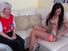 OldNanny Granny coupled on touching teen masturbating on touching toy coupled on touching strapon