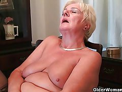 64 domain elderly together with British granny Sandie rubs the brush elderly pussy