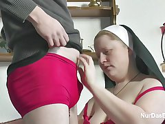 German Juveniles soft-soap Granny Nun to Fuck Him