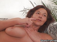 Twosome horny buddies have sex granny