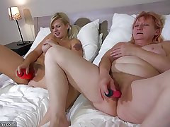 OldNanny Team a few horny lesbian woman is enjoying with strapon