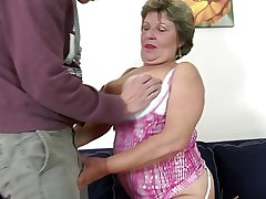 Finished granny takes young boy's cock in indiscretion and pussy