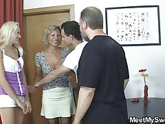 Blonde girl involve into 3some with regard to his olds