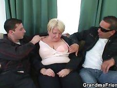 Two buddies chuck all round granny