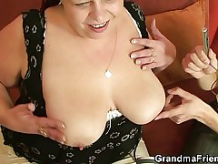 Sex-crazed plumper takes two dicks at once