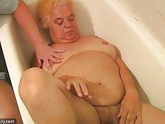 Granny and dispirited Nurse is enjoying hot triplet