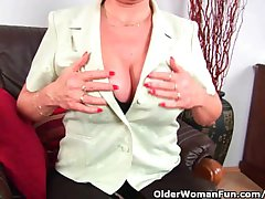 Grandma In Stockings Massages Her Fat Tits And Finger Fucks Her Age-old Pussy