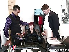 Two fortuitous studs bang business woman
