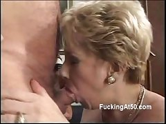Horny tow-headed granny blows a horseshit with an increment of moans anon rides it