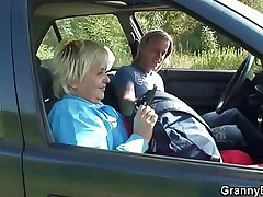 Granny getting pounded in get under one's jalopy