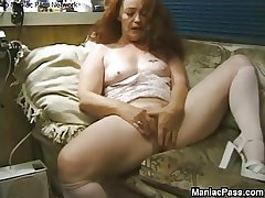 Longhaired granny enjoys mating