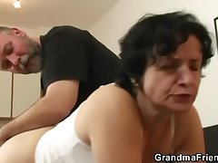 Granny here white skivvies swallowing duo cocks after pussy toying
