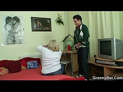 Huge granny swallows his lickerish cock