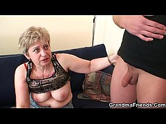 Horny granny takes two cocks needed