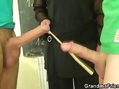 Duo studs fuck granny tutor