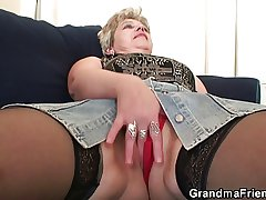 Spoiled granny takes two cocks