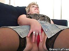 Spoiled granny takes two cocks