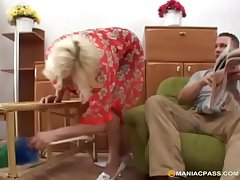 Blonde granny loves it rough