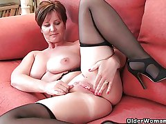 British milf with broad in the beam jugs gets fingered by photographer