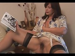 Prexy hairy matured brunette cosset poses plus strips