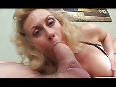 Horny flaxen-haired granny deep throats huge flannel